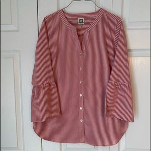 Anne Klein Striped Blouse Top Size Large Rose Pink